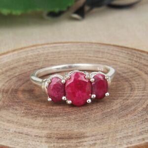 925 Sterling Silver Corundum Ruby Ring Three Red Gemstones Size 5-11