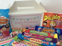 PERSONALISED RETRO SWEET BOX - Birthday Party Wedding Thank You Retro Sweets