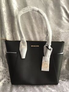 MICHAEL KORS CHARLOTTE LARGE ZIP TOP TOTE BLACK LEATHER NEW WITH TAGS