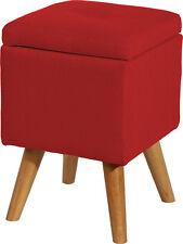 *B412478-5 / Chillhocker Fußhocker Sitzhocker Hocker Stoff Rot Stauraum