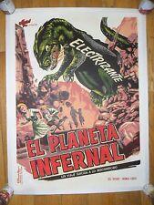 King Dinosaur ORIG 1950's 1-SHEET LINENBACKED Cuban/Mexican POSTER