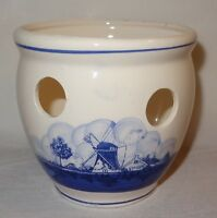 VTG Crocus Flower Pot Blue White Sailboat Windmill Scenes Planter