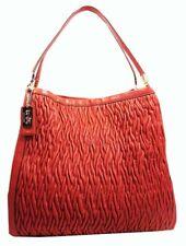 COACH 25260 MADISON Gathered Phoebe Vermillion Orange Leather Shoulder Bag 698