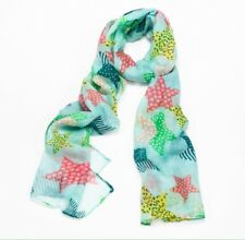 NWT Blue & Green Patterned Star Print Poly cotton Cute Light Scarf