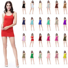 Women Plain Elastic Spaghetti Strap Long Tank Top Mini Dress Basic Camisole Slip
