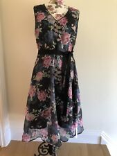 Monsoon Black Floral Dress Size 16