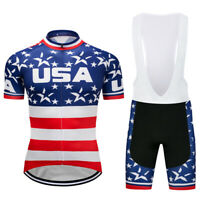 Mens Cycling Jersey Bike Bib Shorts Short Set USA Flag Team Shirt Tights Padded