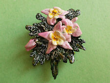 HANDMADE HAND PAINTED Pink COLUMBINE BROOCH AQUILEGIA Wedding Lapel Flower Pin