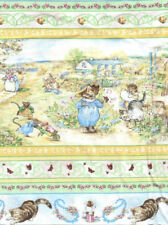 Beatrix Potter Fabric Tom Kitten 3 Little Kittens Cat Mouse Nursery White - BTY
