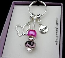 Beautiful Butterfly Dream Frangipani & Fushia Bead Keyring Key Ring