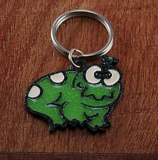 Vintage Green Animal Enamel Black  Metal Key Chain Metal Key Fob Signed Image