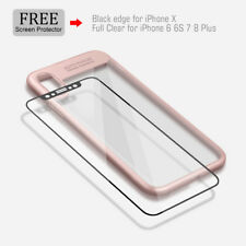 Auto Focus Case for iPhone X Clear Transparent TPU+PC cover with Tempered Glass