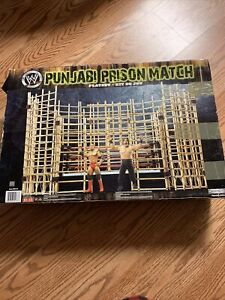 WWE Jakks Pacific Punjabi Prison Double Cage Match RARE COMPLETE With 65 Figures