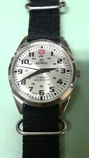 VINTAGE SWISS ARMY 17 JEWEL ROAMER WRIST WATCH,12/24 SILVER/WHITE RADIANT DIAL