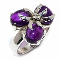 African Amethyst Natural Gemstone 925 Sterling Silver Ring Size 8.5 R-120