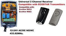 Universal 433.92MHz 2 canales receptor compatible con Ecostar transmisores