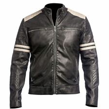 NEW Men's Leather Jacket Black Slim Fit Biker Vintage Motorcycle Cafe Racer