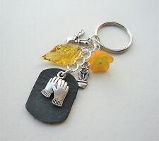 GARDENING Tools KEYRING Bag Charm Orange Black Silver Leather Tag  KCJ2617