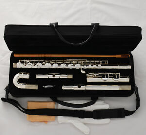 Professional Silver Plated Alto Flute G Key W/ Straight Curved Head Jonts + Case
