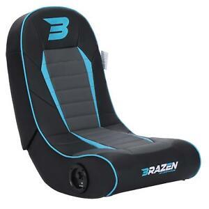 BraZen Floor Rocker Gaming Chair - Sabre 2.0 Bluetooth Speaker Sound - Blue
