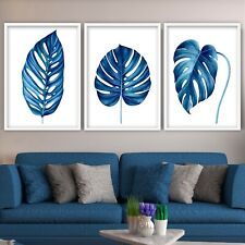 More details for set of 3 tropical monstera art prints botanical navy blue from hand drawn poster