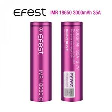 2 x Efest 3000mAh IMR 3.7V 18650 Batteria Flat Top 35A per Sigaretta Elettronica