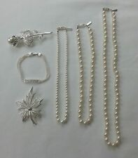 Napier - Lot of 6 - 2 Brooches 1 Bracelet 3 Necklaces _ silver pearl