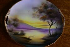 Vtg Noritake Serving Plate Hand Painted: Lake at Dusk w/ Decorated handles -12