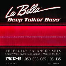 LA BELLA 750C-B COPPER-WHITE NYLON TAPE WOUND BASS STRINGS, light 5's - 50-135