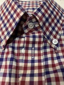 Turnbull & Asser Custom Red/white/blue Check Cotton Shirt (15) England