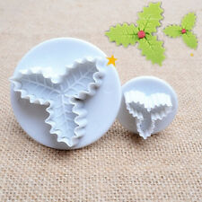 2x Christmas Holly Leaf Plunger Baking Cookie Pastry Cutter Decorating Cake Mold