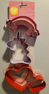 Wilton  3 Piece Magical Cookie Cutter Set Unicorn Rainbow Heart New Metal