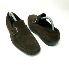 Tod's Brown Suede Slip On Buckle Loafer Shoes Size US 6.5 Mens Casual