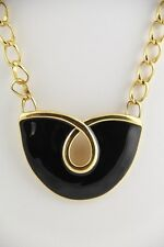 VINTAGE Jewelry MONET SIGNED RUNWAY CURBED CHAIN & ENAMEL NECKLACE