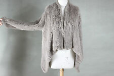 NEW 100% RABBIT FUR SWING LONG SLEEVE JACKET TAUPE FREE SIZE