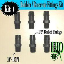 "(6)Nylon Fittings 1/4""- 18 NPT to 1/2"" Barb Fittings: HHO Bubbler Reservoir Tank"