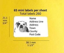 Bulldog 260 Personalised Address Labels Stickers