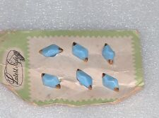 Vintage Latest Style Luxury Set Of 6 Light Blue Gilt Glass Buttons, Europe