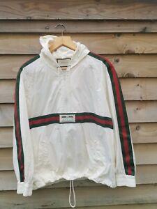 Gucci GRG Web Windbreaker Lightweight Jacket  - Size Large 46 - White