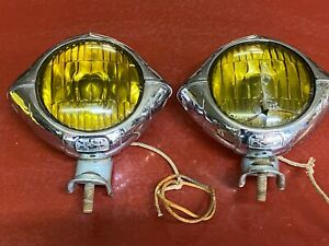 "VINTAGE CATS EYE FOG LIGHT PAIR B-L-C 4-1/2"" MODEL 2020A ART DECO CHEVY  BOMB"