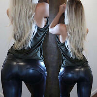 Fashion Womens PU Wet Look Leatherette Leggings Slim Trousers Club Bust Pants .