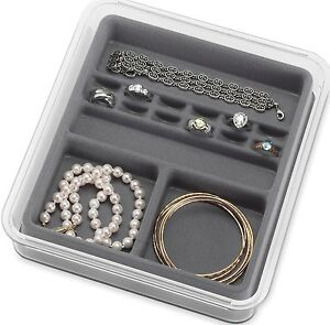 Whitmor 6483-4360-GREY 8X 9X1.5 16 Section Grey Clear Stacking Jewelry Tray Ring