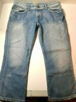 BKE Buckle Denim Capri Women's Blue Jeans Size 8 32W Distressed Embroidered