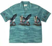 KY'S Motorcycles Eagles Surfboards Green S/S Aloha Hawaiian Camp Shirt Mens XL
