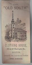 1900s Business Card The Old South Clothing House Boston