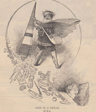 SANTA CLAUS DELIVERING TOYS HOLIDAY SCENE ANTIQUE CHRISTMAS PRINT 1879