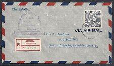 Curacao covers 1938 R-Proof Flightcover Aruba to Port of Spain