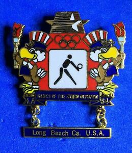 VOLLEYBALL 1984 LOS ANGELES OLYMPIC PIN BADGE LONG BEACH SAM THE EAGLE MASCOT