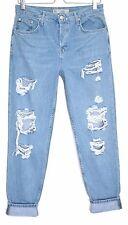 Topshop Boyfriend HAYDEN Slim Tapered Blue RIPPED Crop Jeans Size 10 W28 L34