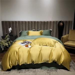 Women Tencel Bedding Set Beauty  Duvet Cover Flat Sheet Pillowcase Bed Linen Set